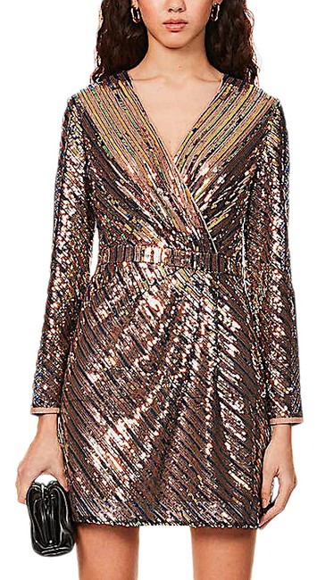 Item - Gold with Tag Sequined Mini Short Cocktail Dress Size 4 (S)