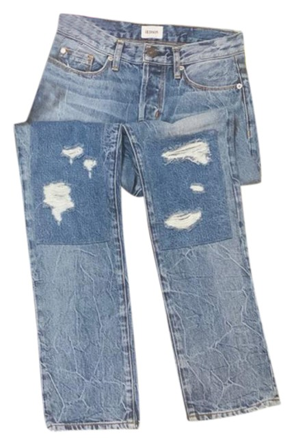 Item - Blue White Acid Zoeey Extreme Straight Leg Jeans Size 29 (6, M)