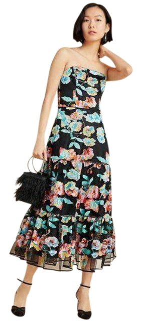Item - Black Green Anthropologie Embroidered Midi Mid-length Formal Dress Size 4 (S)