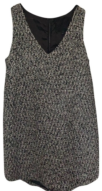 Item - Black and White with Silver Tweed Mid-length Cocktail Dress Size 12 (L)