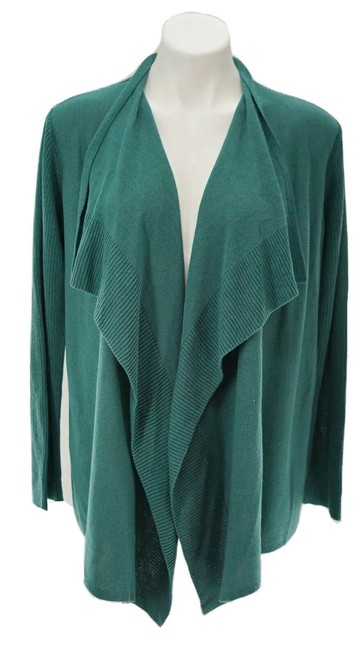 Item - Green Open Front Draped Cascade Cardigan Size 8 (M)