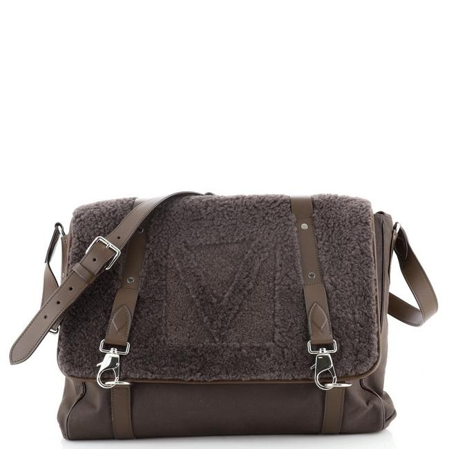 Item - Falp Shearling With Green Leather Messenger Bag