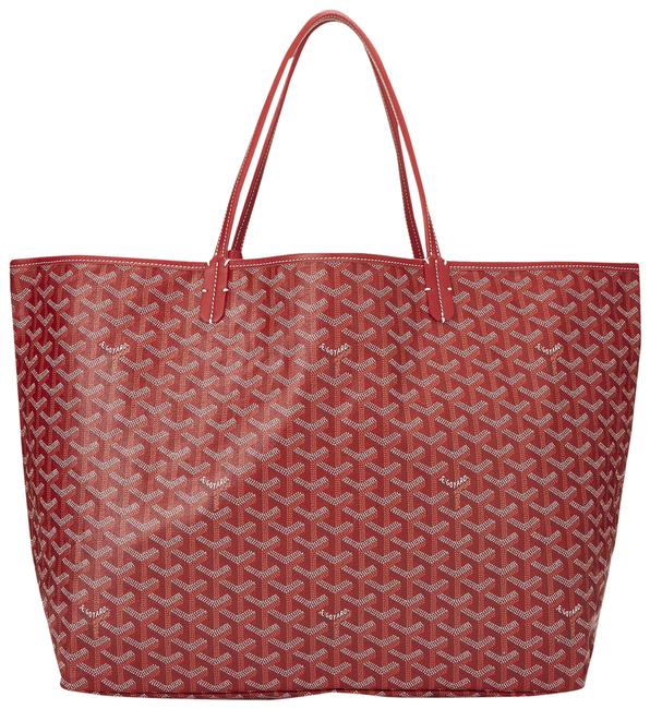 Goyard St. Louis Gm Red Coated Canvas Tote Goyard St. Louis Gm Red Coated Canvas Tote Image 1