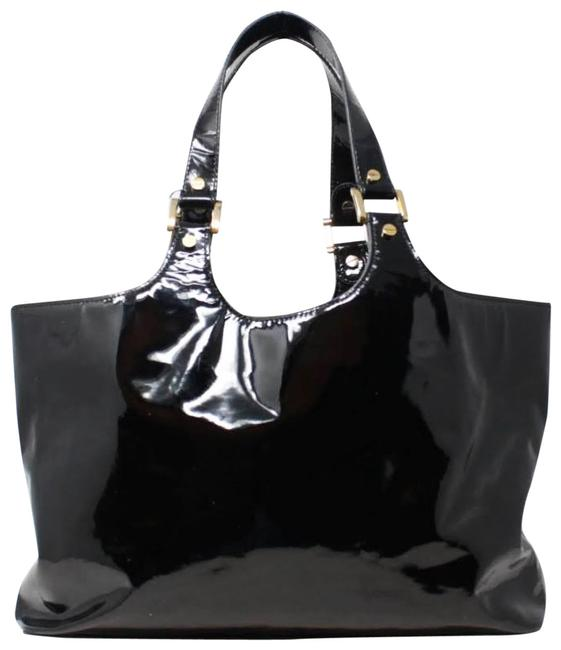 Item - Check Small Black Patent Leather Tote