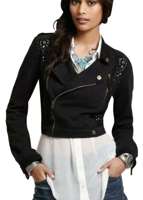 Item - Black Cotton Cropped Embroidered Panel Jacket Size 0 (XS)