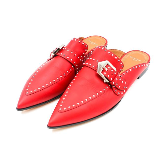 Item - Red Leather Studded Mules/Slides Size EU 39 (Approx. US 9) Regular (M, B)