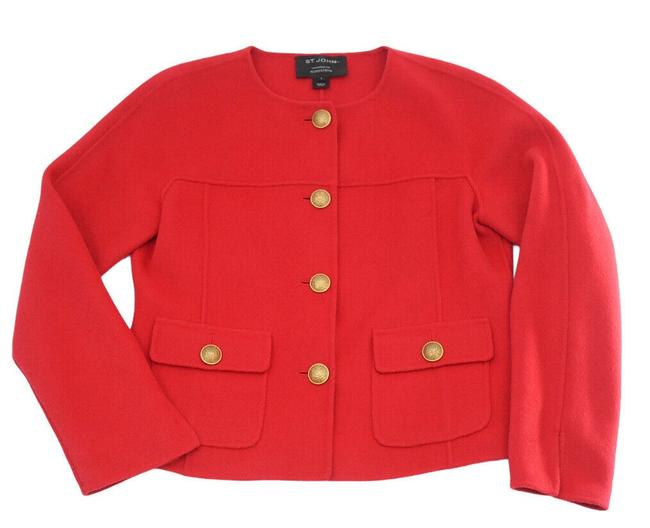 Item - Red Gold Colored Decadent Buttons Blazer Size 6 (S)