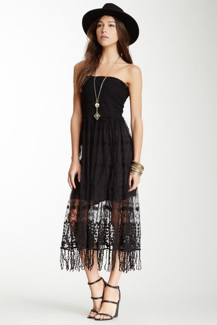 Free People Embroidered Convertible Floral Mesh Blk Sheer Dress