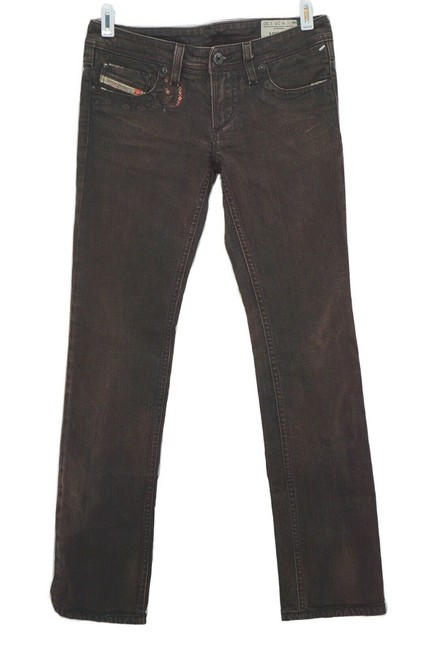 Item - Brown Dark Rinse Lowky Sequins Equestrian Straight Leg Jeans Size 25 (2, XS)