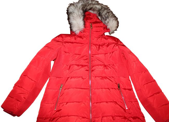 Item - Red Faux Fur Hood Down Alternative Puffer Jacket Coat Size 10 (M)