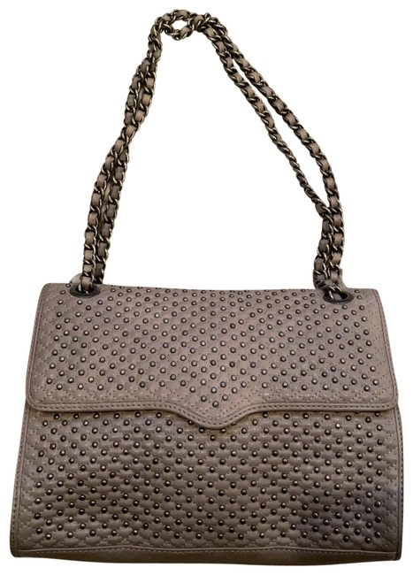 Item - Studded Grey Leather Shoulder Bag