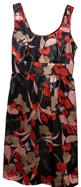 Item - Red and Black Floral Zip Short Night Out Dress Size 2 (XS)