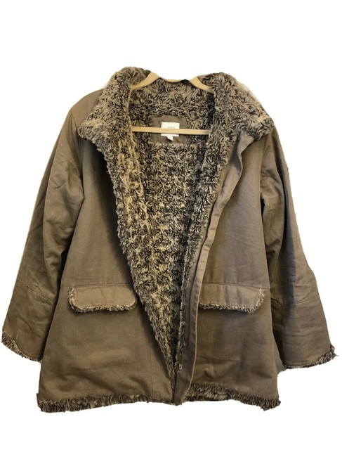 Item - Olive Green Faux Shearling Jacket Size 10 (M)