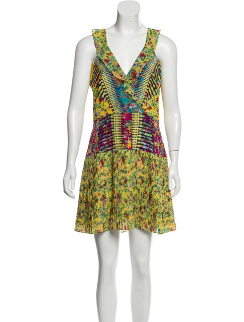 Item - Yellow Multi Amy Silk Fit and Flare Short Cocktail Dress Size 8 (M)