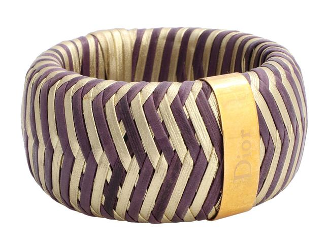 Item - Purple Vintage Wide Gold-tone and Gold Woven Leather Bangle Bracelet
