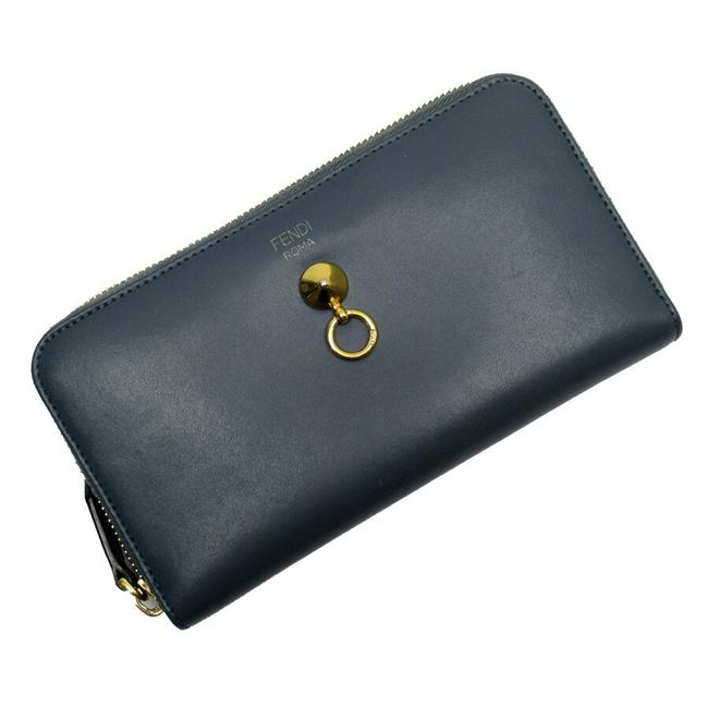 Item - Blue / Gold Round Zipper Leather Wallet