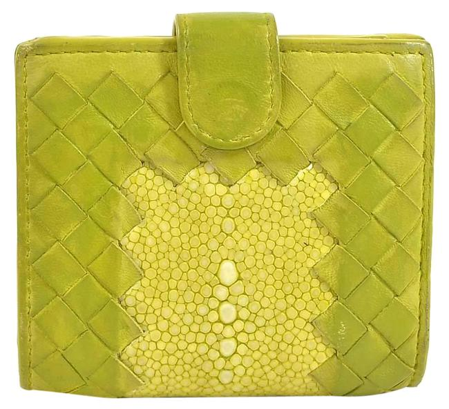 Item - Yellow Bi-fold Intrecciato Leather Ladies Wallet