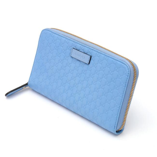 Item - Blue Micro Shima Gg Round Zipper 449391 Leather Wallet