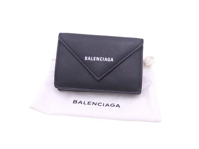Item - Black Compact Leather Tri-fold Wallet