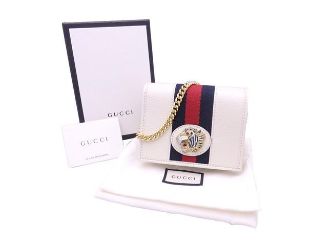 Item - Navy / Red Color / White Compact Raja Leather Gold Hardware Bi-fold Chain 573790 Wallet