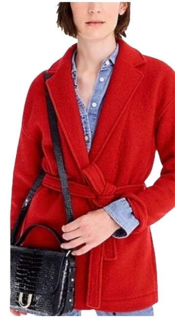 Item - Red Camille Wrap Italian Boiled Wool Belt Short Small Coat Size 6 (S)