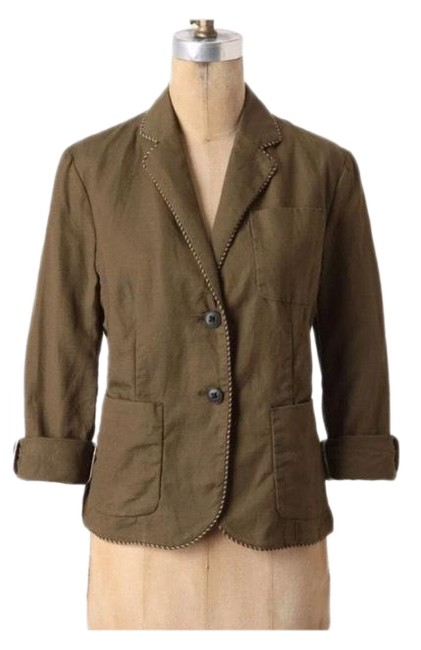 Item - Olive Green Anthro Cartonnier Linen Jacket Blazer Size 8 (M)