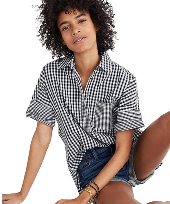 Item - Black White Gingham-play Shirt Xxl Button-down Top Size 22 (Plus 2x)
