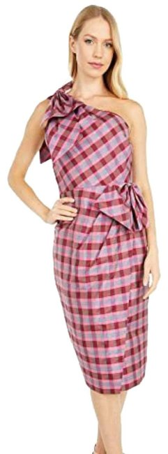 Item - Fushia Pink Yellow and Teal. Ocho In Plaid Mid-length Cocktail Dress Size 10 (M)