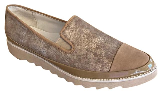 Item - Tan and Gold 'beliz' Loafer Wedges Size US 8.5 Narrow (Aa, N)
