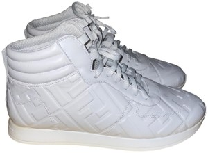 Item - White Embossed Leather Ff Logo High Top Sneakers
