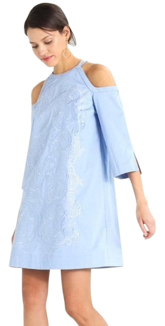 Item - Blue Embroidered Shift Mid-length Work/Office Dress Size 6 (S)
