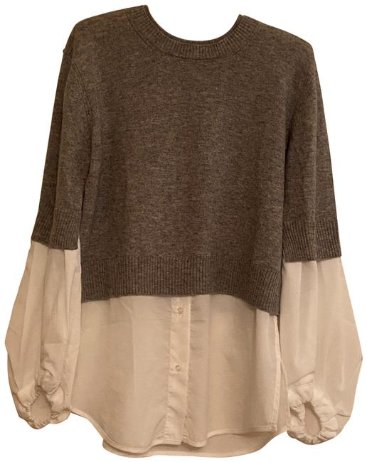 Item - Merino Wool with Faux White Blouse Beneath Gray Sweater