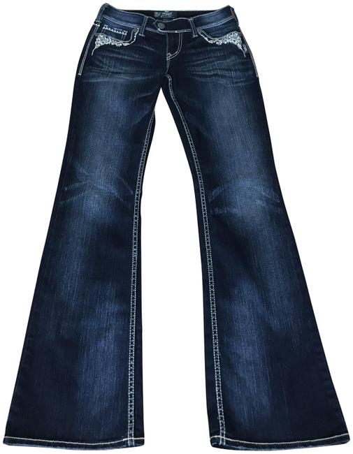 Item - Dark Blue Distressed Boot Cut Jeans Size 27 (4, S)
