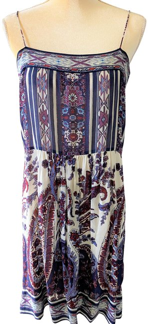 Item - Multicolor Paisley Printed Silk Mid-length Short Casual Dress Size 2 (XS)
