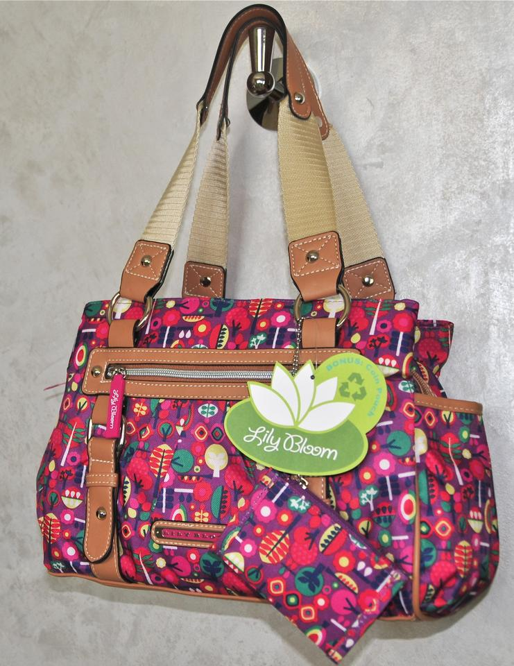 Lily Bloom Handbag Recycled Twill Coin Purse Travel Flowers Karma Satchel In Pink Purple