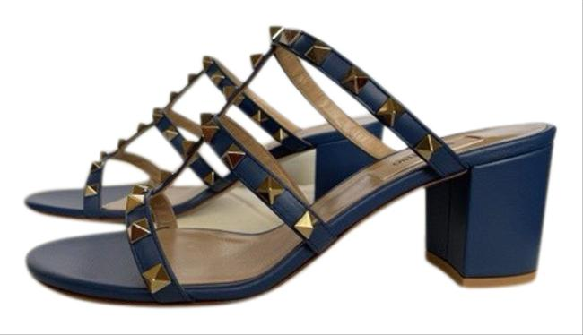 Item - Blue Rockstud Caged 60mm Slides Sandals Pumps Size EU 38 (Approx. US 8) Regular (M, B)