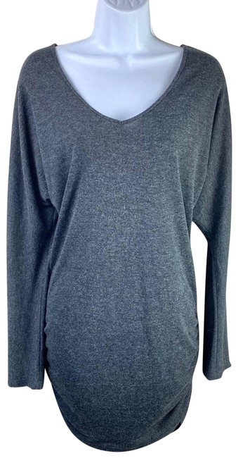 Item - Gray Knit Ruched Dolman Sleeves M Short Casual Dress Size 8 (M)
