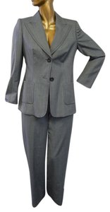 Escada Escada Gray Black Tic Weave Wool Blend 2pc Jacket Pant Suit 40 /42
