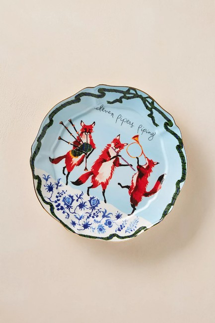 Item - Blue Inslee Fariss 12 Days Of Christmas Plate #11 Eleven Pipe Decoration