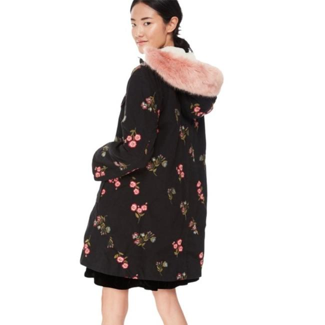 Item - Black Embroidered with Hood Coat Size 2 (XS)