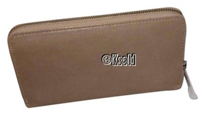 Furla Furla Signature Classic Zip-Around Clutch Wallet Tan Brown Beige