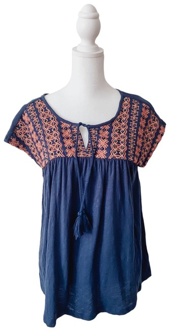 Item - Navy Bead Embroidery Blouse Size 8 (M)