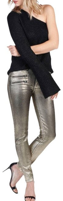 Paige Gold Coated X Rosie Huntington-whiteley Stevie In Galaxy Skinny Jeans Size 27 (4, S) Paige Gold Coated X Rosie Huntington-whiteley Stevie In Galaxy Skinny Jeans Size 27 (4, S) Image 1