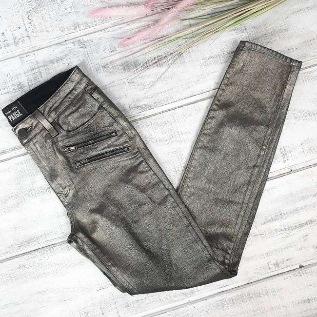 Paige Gold Coated X Rosie Huntington-whiteley Stevie In Galaxy Skinny Jeans Size 27 (4, S) Paige Gold Coated X Rosie Huntington-whiteley Stevie In Galaxy Skinny Jeans Size 27 (4, S) Image 2