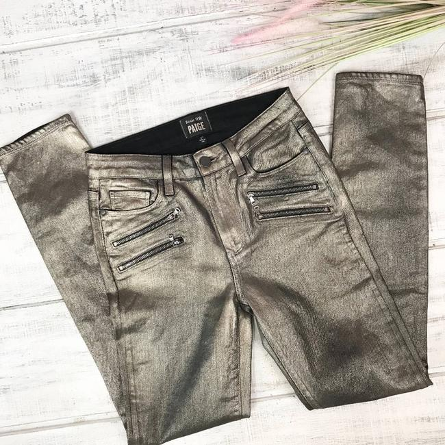 Paige Gold Coated X Rosie Huntington-whiteley Stevie In Galaxy Skinny Jeans Size 27 (4, S) Paige Gold Coated X Rosie Huntington-whiteley Stevie In Galaxy Skinny Jeans Size 27 (4, S) Image 4