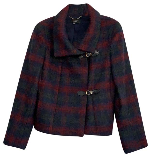 Item - Blue Red Green Plaid Mohair Cropped Jacket Coat Size 12 (L)
