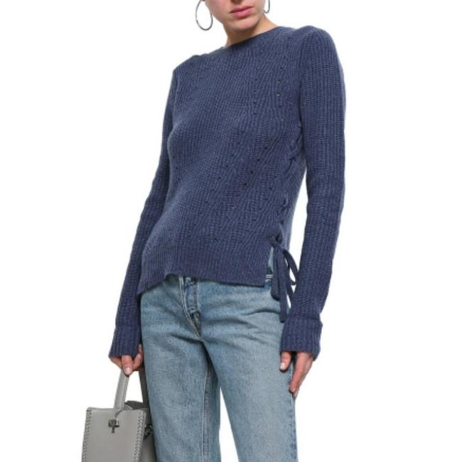 Item - Lace-up Ribbed Size Medium Blue Sweater