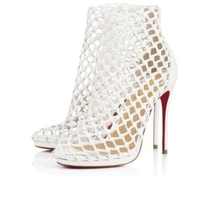 Item - White Porligat 120 Woven Leather Cage Ankle Boots/Booties