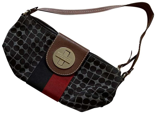 Item - Red and Leather And Brown Canvas Baguette