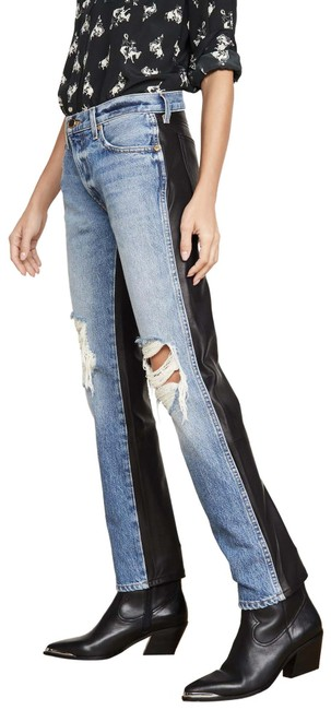 Item - Blue Black Distressed Denim and Leather Skinny Jeans Size 26 (2, XS)